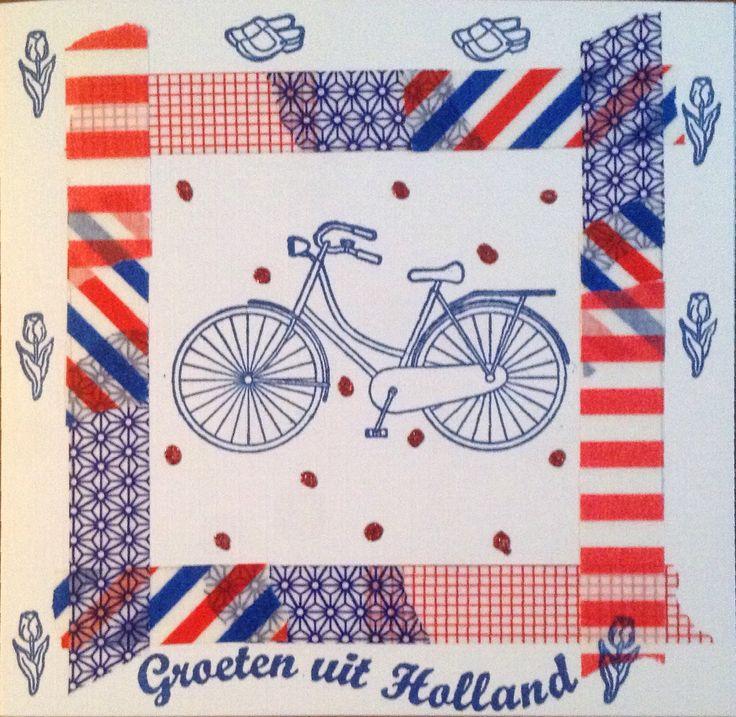 Kaart met fiets en washitape naar Duitsland