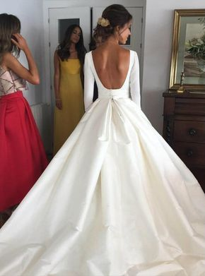 Nude Back Long Sleeves Satin Ball Gown Wedding Dresses with Pockets 2017