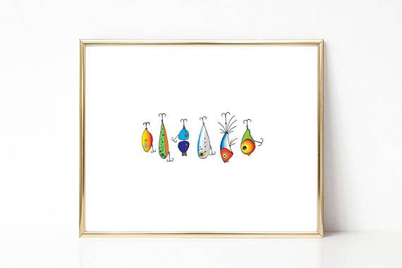 Fishing Lure Print Colorful PRINTABLE Nursery Art Instant download #etsy #ad