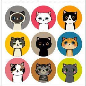 Korean Cat illust Sticker by Jsgiftland (esty, Js)