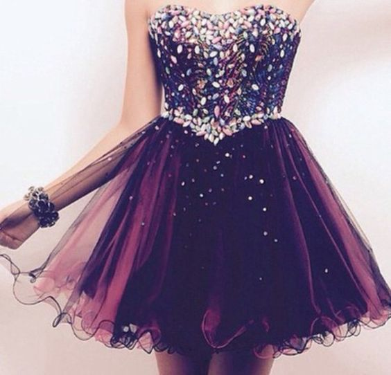 Colorful Beading Homecoming Dress, Grape Tulle Prom Dress,Sexy Sweetheart Ball Gown For teens Party Dress