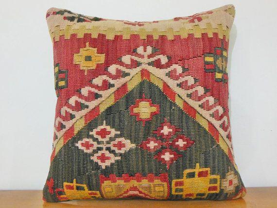 20x20 Handwoven Pillow Decorative Pillow Throw Pillow Large Kilim Pillow Tribal Pillow Ethnic ...