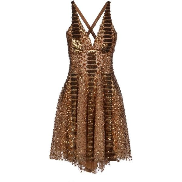 Zuhair Murad Short Dress ($3,810) ❤ liked on Polyvore featuring dresses, camel, short flare dress, mini dress, brown dress, flare cocktail dress and sleeveless dress