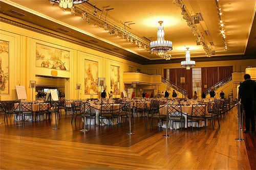 The art deco chandeliers in the Myer Mural Hall Melbourne Australia compliments of http://www.flickr.com/photos/carljoseph/5990074064/