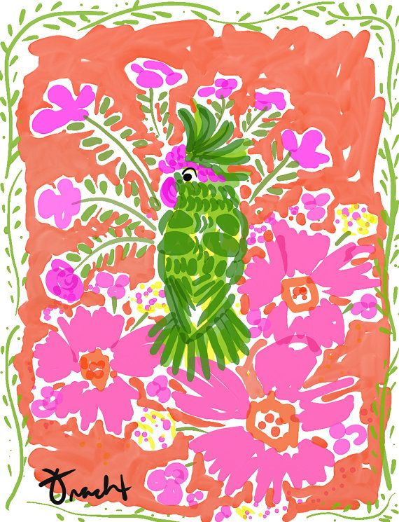 Art Print 16x20 Green Parrot Pink by artist Kelly Tracht, Art Poster Lilly Pulitzer Style Painting Palm Beach Regency on Etsy, $75.00