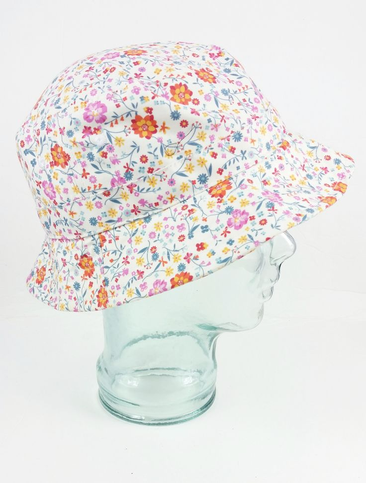 Vintage White Colorful Floral Bucket Hat