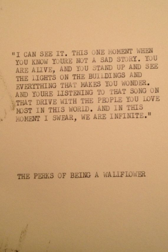 THE PERKS of being a WALLFLOWER Typewriter quote on by WritersWire, $6.00