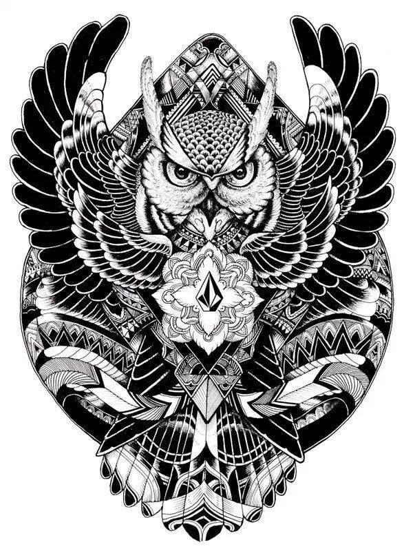The style and detail of the wing fit well with the owl in this.