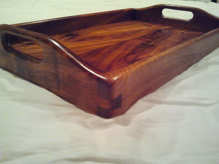 Hawaiian Koa wood serving tray side view