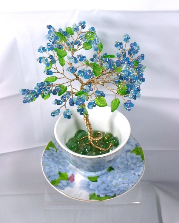 Blue Hydrangea Beaded Bonsai - Ming Tree. $38.00, via Etsy.