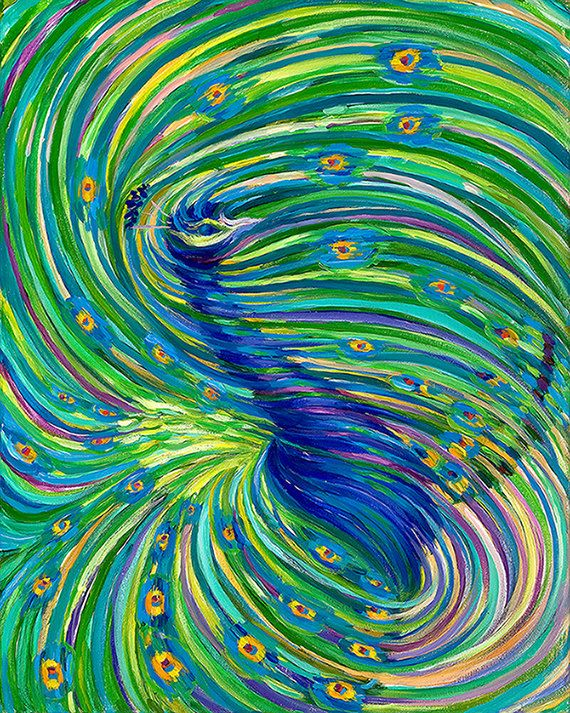 Peacock Energy Painting - Giclee Print by Energy Artist Julia Watkins
