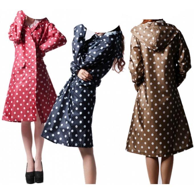 19.20€ Long manteau imperméable à pois style K-Way - bestyle29.com