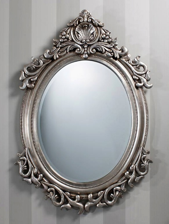 Traditional Oval Wall Mirror in Silver Leaf Colouring