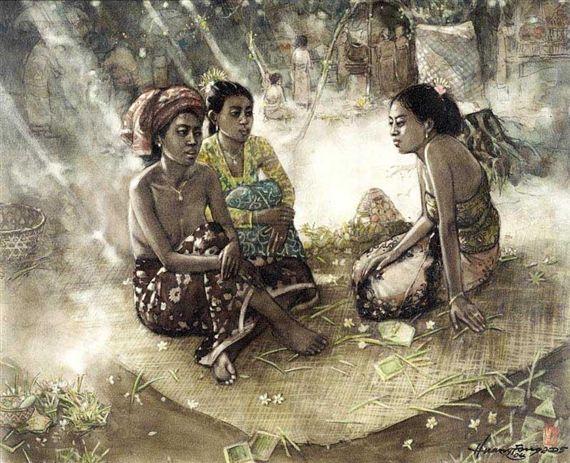 Huang Fong - Ni Cadri, Ni Komang, Putu Asih Ngobrol di Tenga Pura Desa