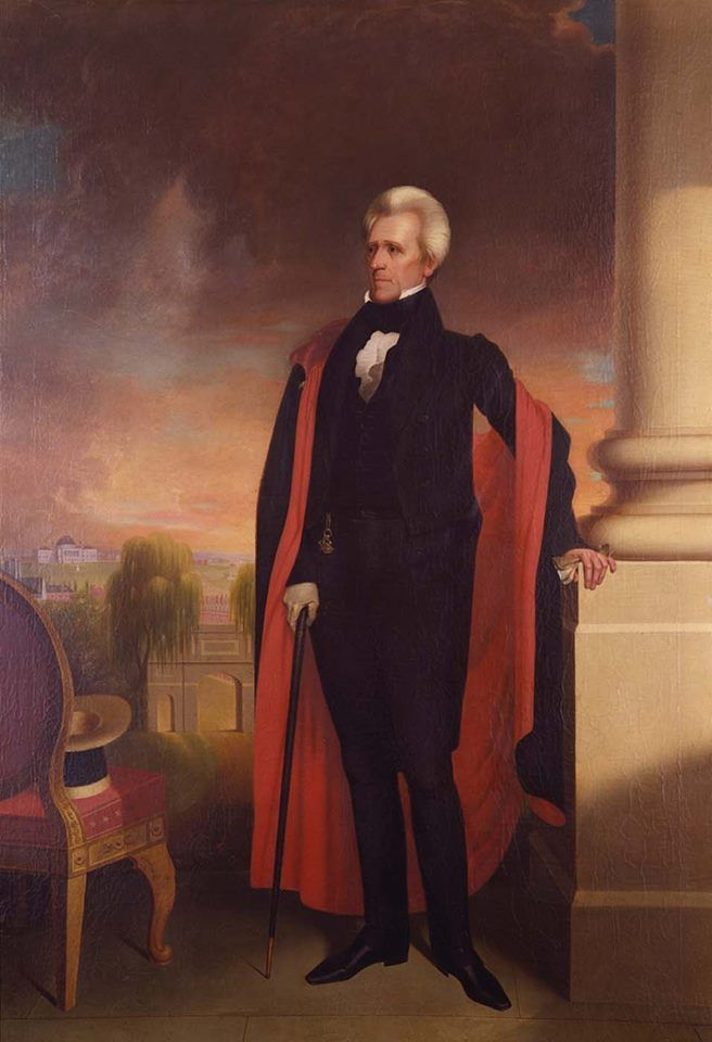 Jan. 30, 1835: President Andrew Jackson survives the first presidential assassination attempt. An unemployed house painter fired two shots at Jackson but they misfired. The 67-year-old President raised his cane to beat his attempted assassin. Portrait of Jackson via Smithsonian American Art Museum and the Renwick Gallery by Ralph Eleaser Whiteside Earl (Transfer from U.S. District Court for the District of Columbia, 1954.11.12.)