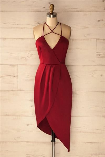 Sheath V-Neck Sleeveless Criss Cross Burgundy Satin Asymmetrical Homecoming Dress