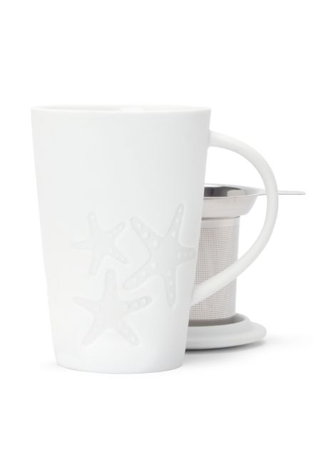 SPRING 2014 This pretty white mug has an embossed starfish design.