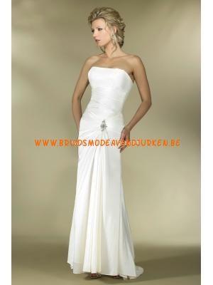 Witte chiffon schede Kolom trouwjurk 2011