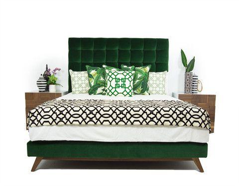 delano bed in como emerald velvet - Velvet Bed Frame
