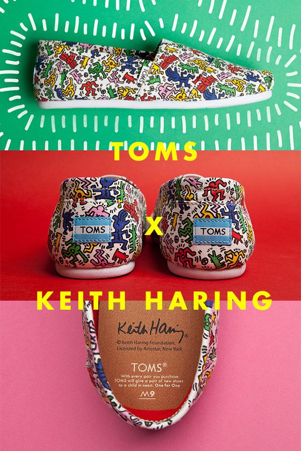 TOMS partner with the Keith Haring Foundation to transform the late, great artist's infamous illustrations into wearable works of art. We're big, big fans.