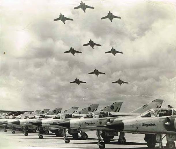 South African Air Force Buccaneer Flypast with Mirage IIICZ's parked on the flightline