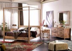 cama dosel de madera de teka coleccin lyra