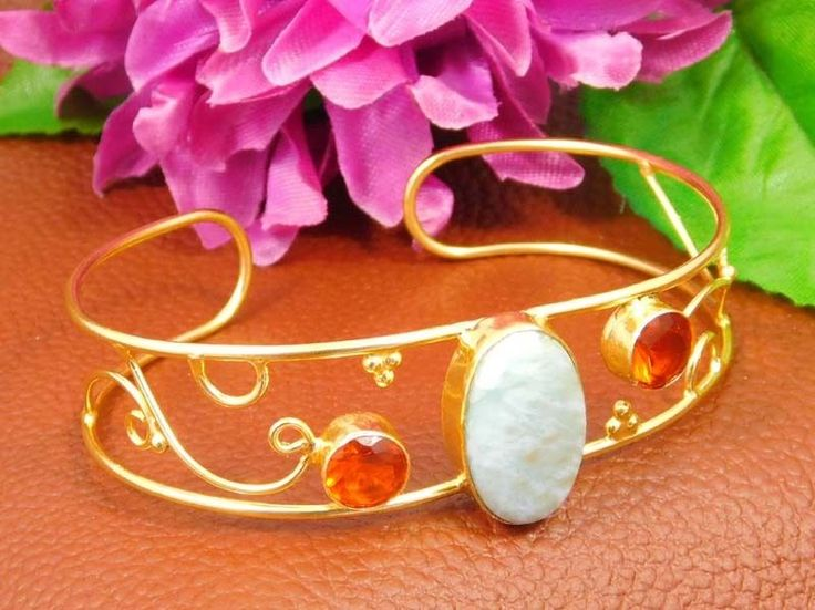 20 Carat Gold Plated Larimar & Garnet Designer Bangle Cuff JT1018 #Handmade