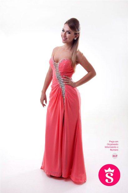 317 - Vestido Longo Coral de Pedraria e Fenda