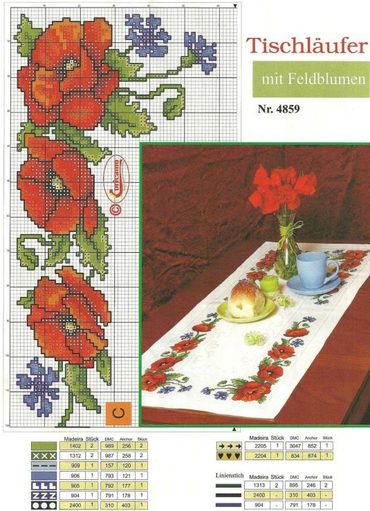 Cross-stitch Poppies Table Runner... Gallery.ru / Фото #157 - 130 - markisa81