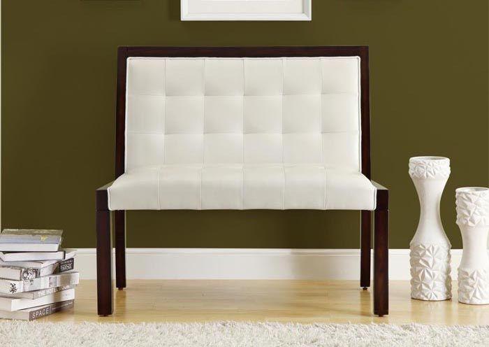 banc en similicuir blanc / white leather-look bench
