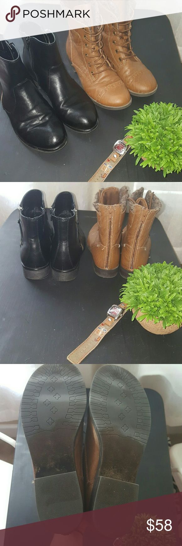 Fall boots bundle The perfect fall boot bundle. Both are 7.5. In excellent condition. Both worn few times. Combat boots are MUDD and black boots where purchased at Tj maxx. Mudd Shoes Ankle Boots & Booties
