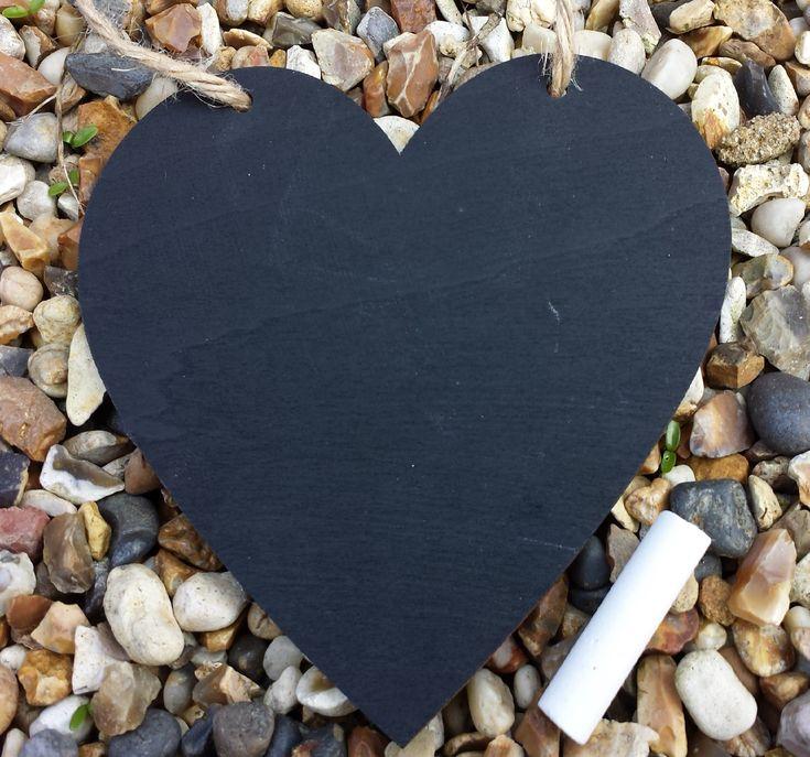 12cm Hanging Chalkboard Heart Memo Board-Plain Design - Little Miss Scrabbled