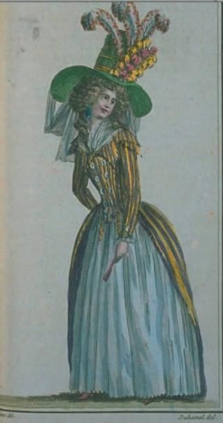 Superb coat dress, circa 1787. Satin cotton and charcoal gray silk