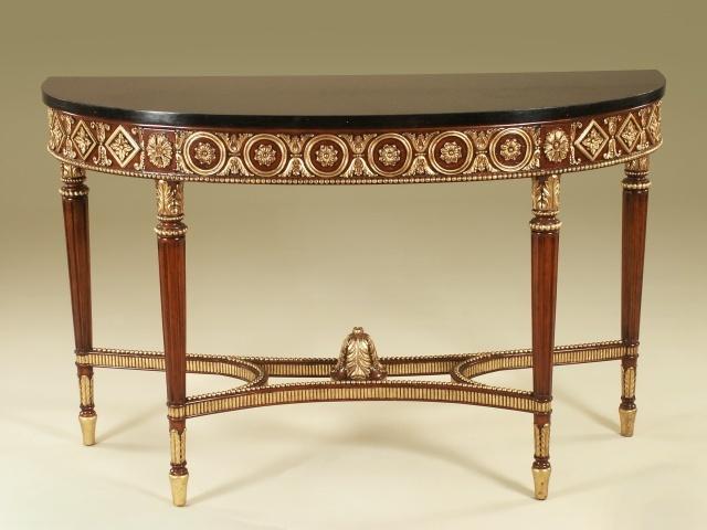 Maitland Smith Regency Finished Mahogany Console Table, Gold Leaf   3430 824