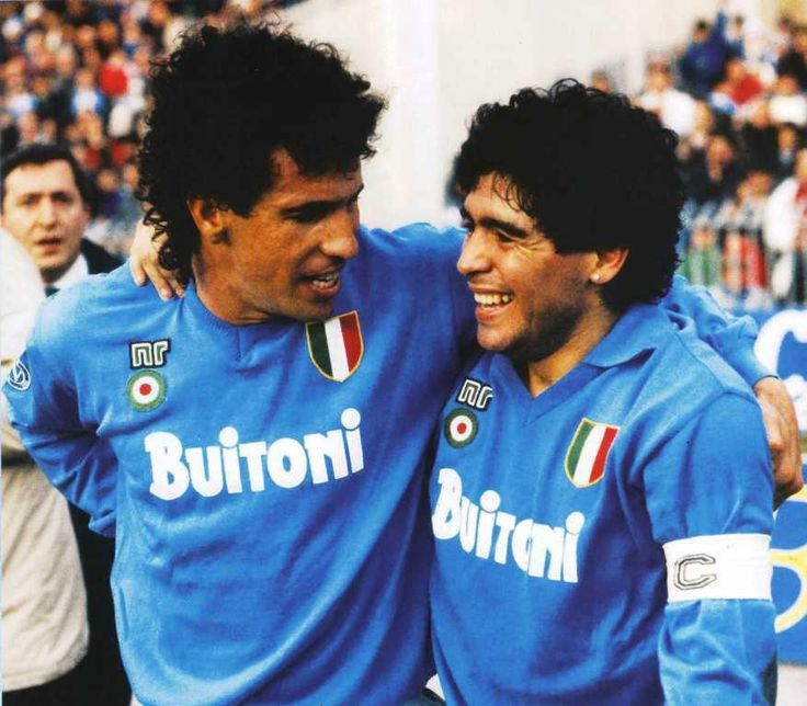 """Careca"" Antônio de Oliveira Filho (SSC Napoli, 1987–1993, 164 apps, 73 goals) with Diego Armando Maradona (SSC Napoli, 1984–1991, 188 apps, 81 goals) during 1987/1988 season."