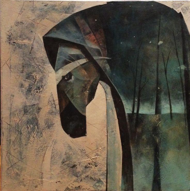 The wonderforest and the horses minds, painting, acrylic on canvas || Czarolasy i końskie umysły, obraz, akryl na płótnie