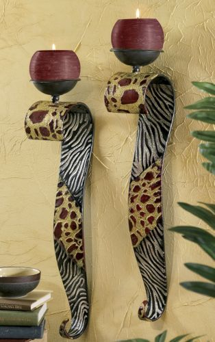 Set Of 2 Safari Sconces From Midnight Velvet The Exotic Mix Of Zebra And Giraffe