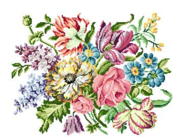 Small bouquet. Cross stitch pattern. instant by rolanddesigns