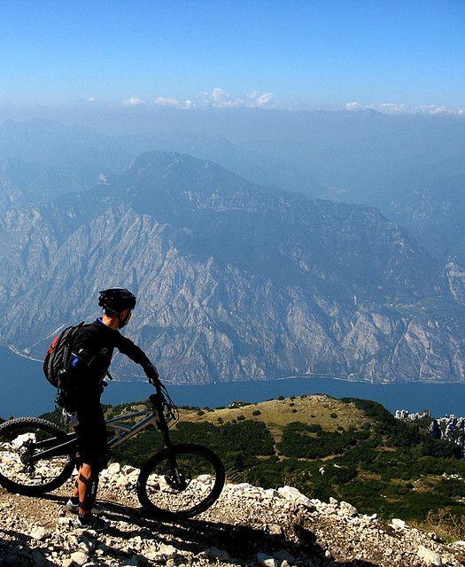 Mountain biking in Lake Garda, Italy.