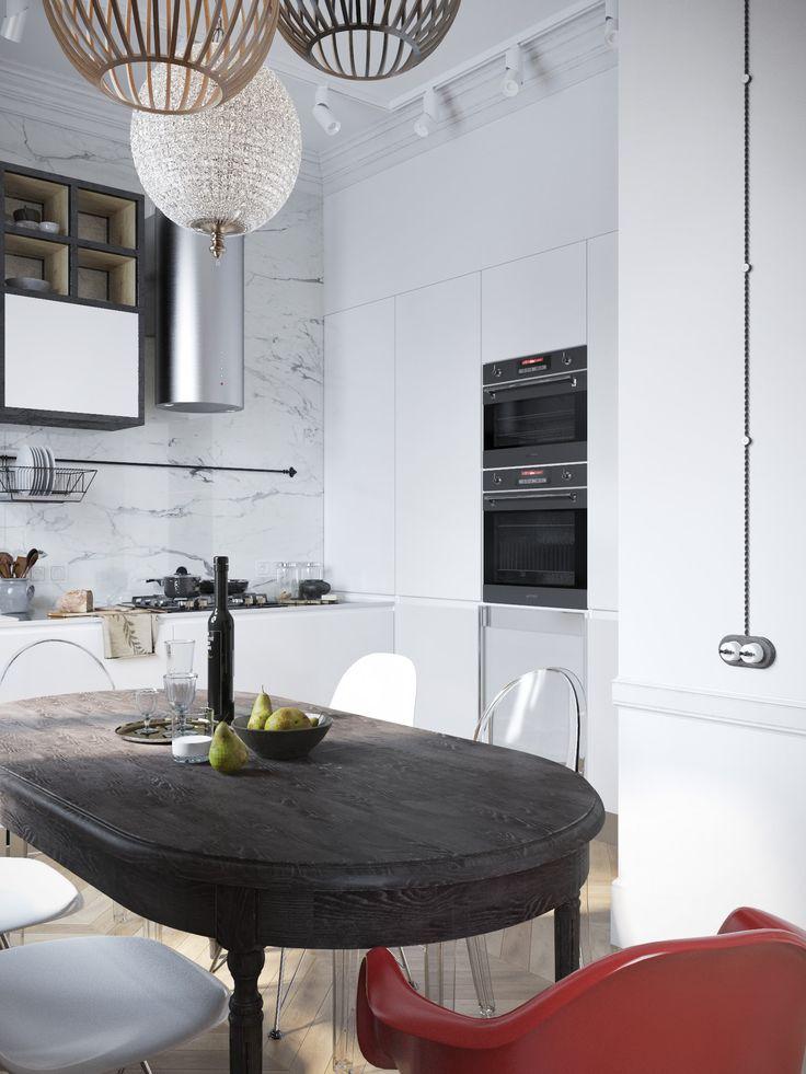интерьер кухни-столовой в белых тонах