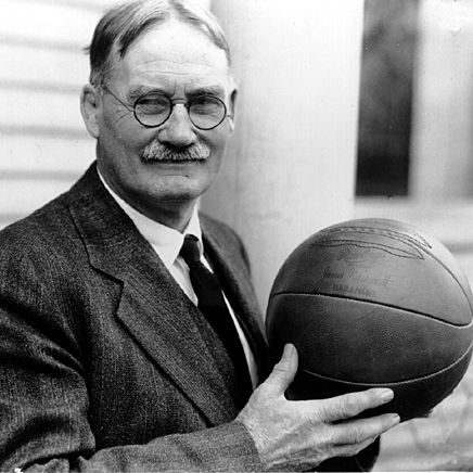 James Naismith was the man who invented basketball in 1891 and started the University of Kansas basketball program in 1898.  1861-1939.  Rock, Chalk, Jayhawk, KU!