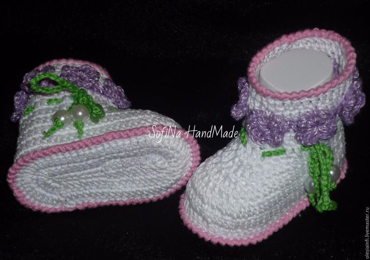 Купить Мастер - класс по вязанию пинеток ботиночек №5 - комбинированный, МК, мастер класс по вязанию