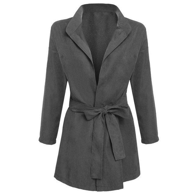 Elegant Spring Autumn Cardigan Women Basic Trench Long Coat Female Windbreaker Lady Clothing Outerwear Green Manteau Femme 2016