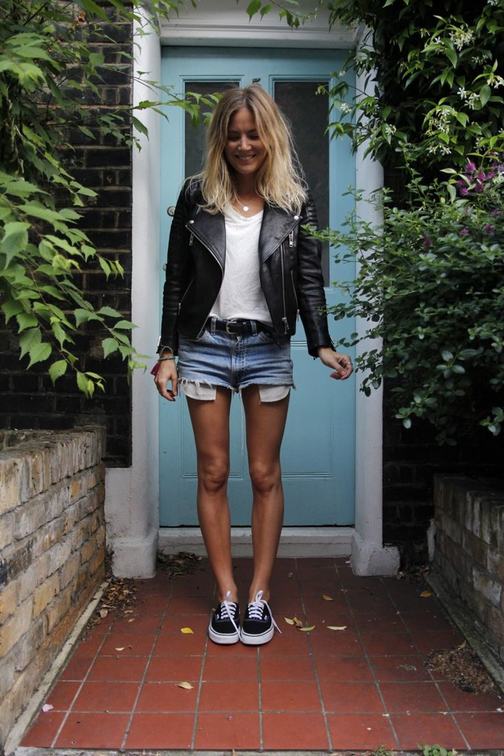 leather jacket, denim shorts, sneakers #tomboy