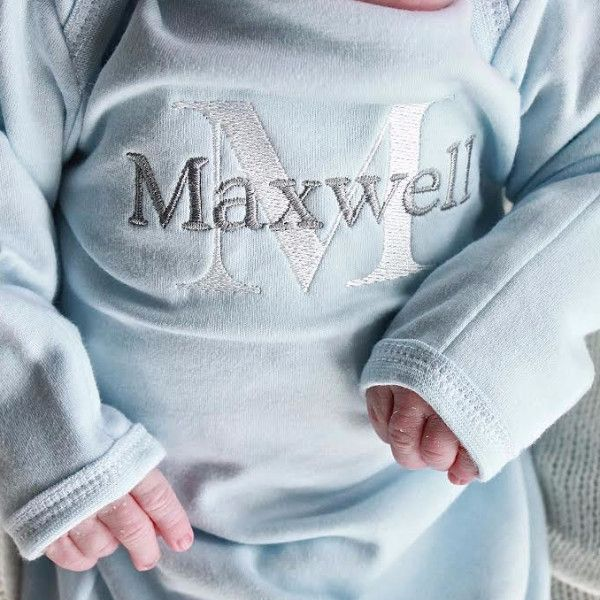 Monogrammed Blue Infant Gown - Baby Boy