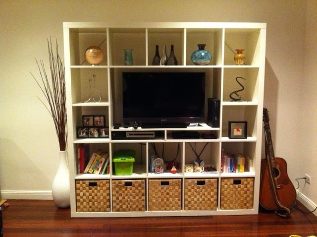 ikea hackers expedit unit for smaller tv i have this. Black Bedroom Furniture Sets. Home Design Ideas