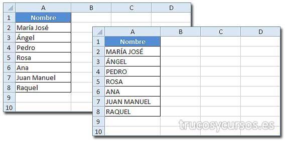 Convertir Texto en Mayúscula en Excel