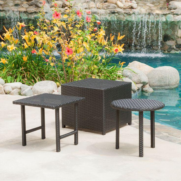 Laguna Outdoor 3pcs Wicker Table Set