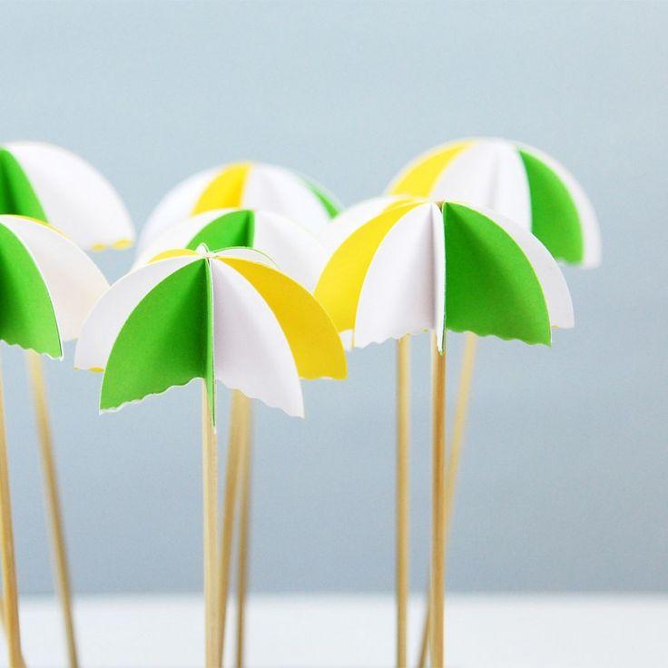Parti süsü, sarı yeşil beyaz şemsiye - cupcake party sticks, white yellow green umbrellas