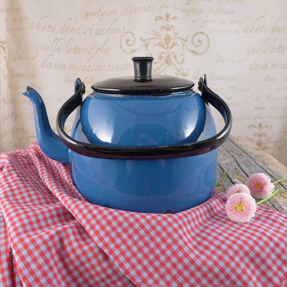 Blue jug for water, kettle,  jug, vintage retro, ceramics, cup ,brocante, container  , Vintage Kitchen Utensils, Vintage Milk Jugs,
